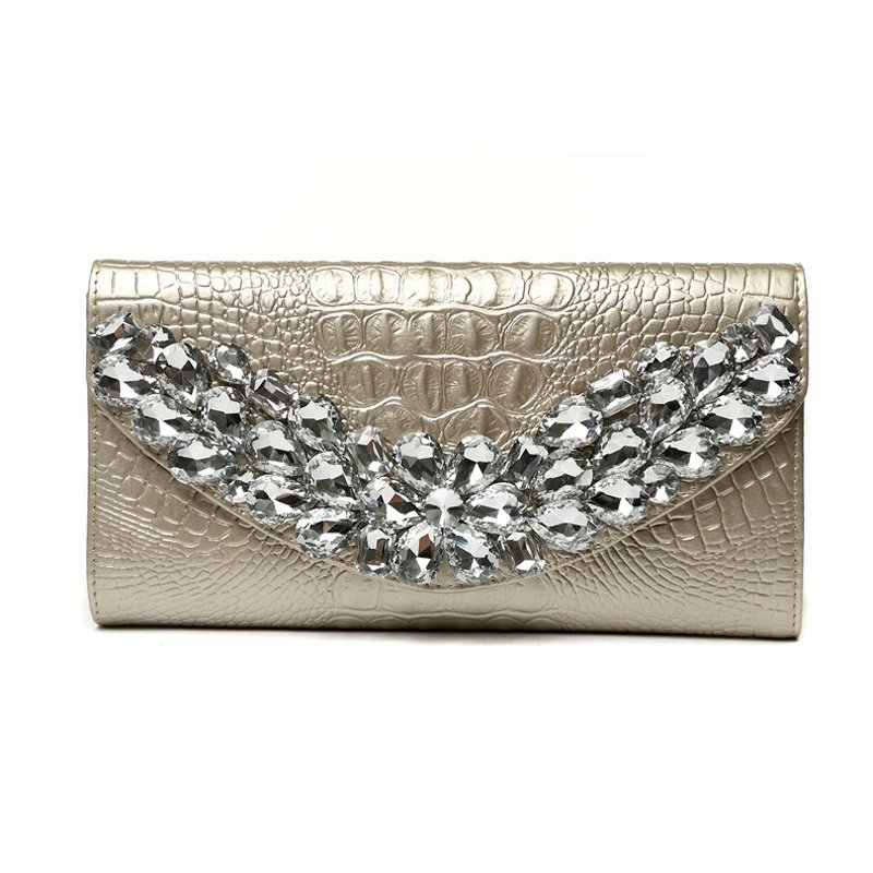 Metallic Gold Cowhide Leather Glitter Rhinestone Studded Evening Clutch Hipster Embossed Crocodile Lady Party Flap Crossbody Shoulder Bag