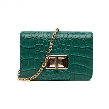 Vintage Teal Faux Leather Embossed Crocodile Lock Closure Durable Sewing Pattern Lady Small Casual Party Chain Flap Crossbody Shoulder Bag