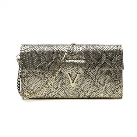 Metallic Gold Genuine Cowhide Leather Crocodile Lady Evening Clutch Stylish Magnetic Closure Chain Party Flap Crossbody Shoulder Bag