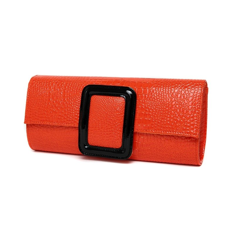 Vintage Flame Orange Patent Leather Embossed Crocodile Lady Flap Evening Clutch Hipster Magnetic Closure Chain Crossbody Shoulder Bag