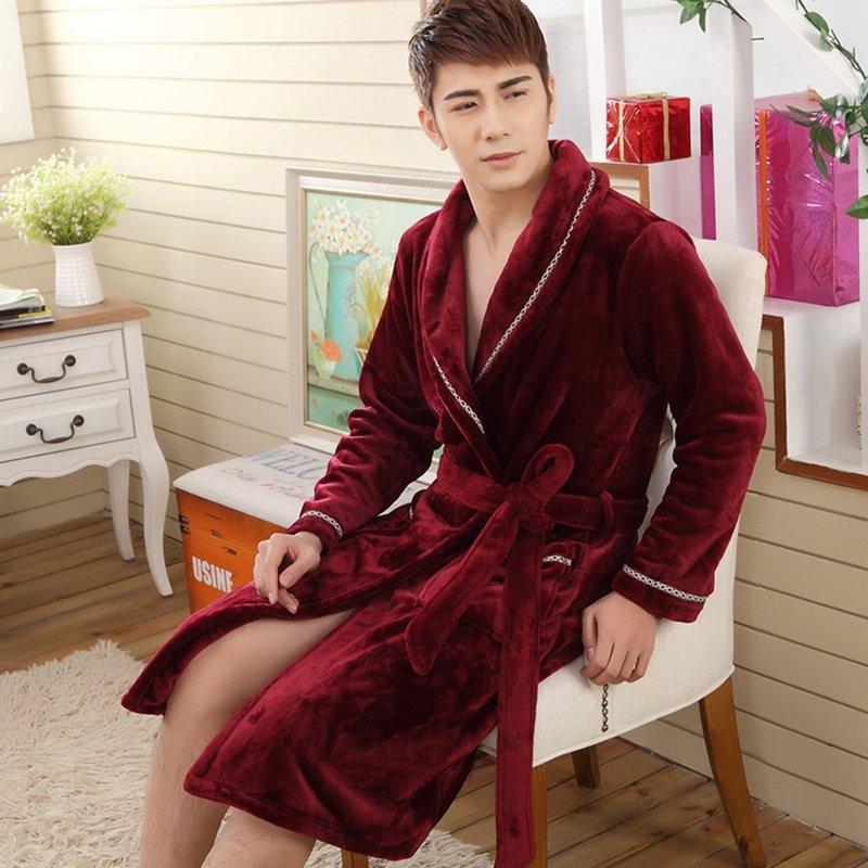 Plain Wine Red Noble Flannel Bathrobe Night Robe Winter Pajamas for Men Boys M L XL XXL