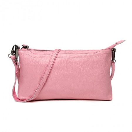 Durable Solid Pale Pink Genuine Cowhide Leather Girls Evening Clutch Stylish Sewing Pattern Zipper Casual Party Crossbody Shoulder Bag