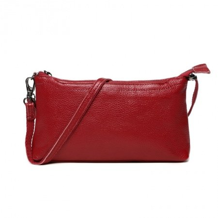 Gorgeous Solid Cardinal Red Genuine Cowhide Leather Lady Evening Clutch Hipster Sewing Pattern Zipper Casual Party Crossbody Shoulder Bag
