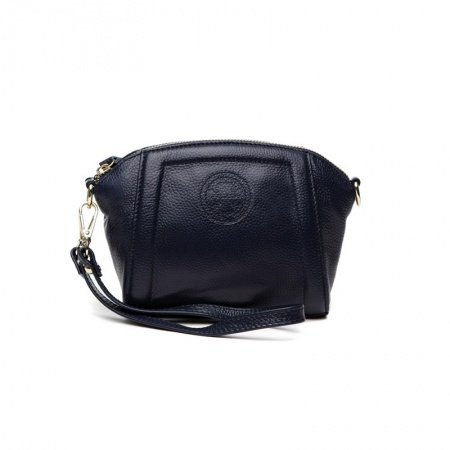 Dark Blue Genuine Cowhide Leather Women Evening Clutch Wristlet Luxury Sewing Pattern Casual Party Shell-shaped Crossbody Shoulder Bag