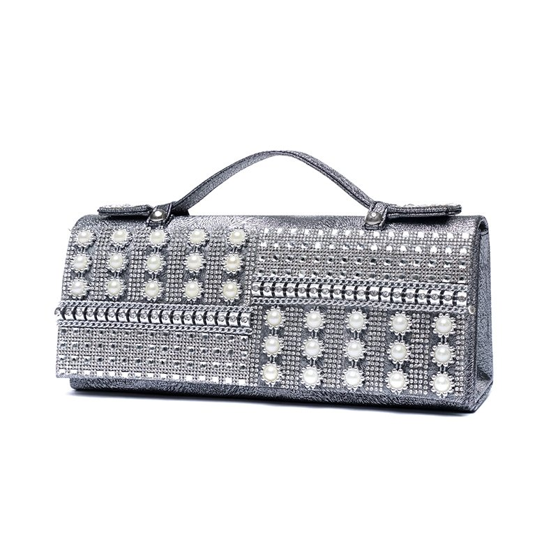 Silver Gray Patent Leather Lady Evening Party Flap Clutch Western Bling Rhinestone Pearl Rivet Studded Small Chain Crossbody Shoulder Bag