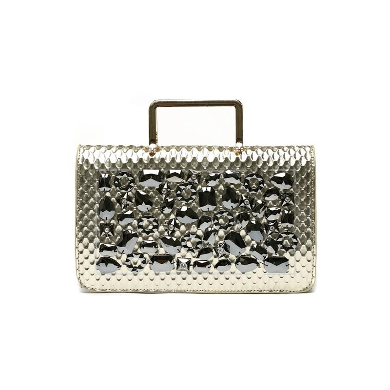 Metallic Gold Patent Leather Bling Rhinestone Women Flap Evening Clutch Hipster Embossed Snakeskin Casual Party Crossbody Shoulder Tote Bag