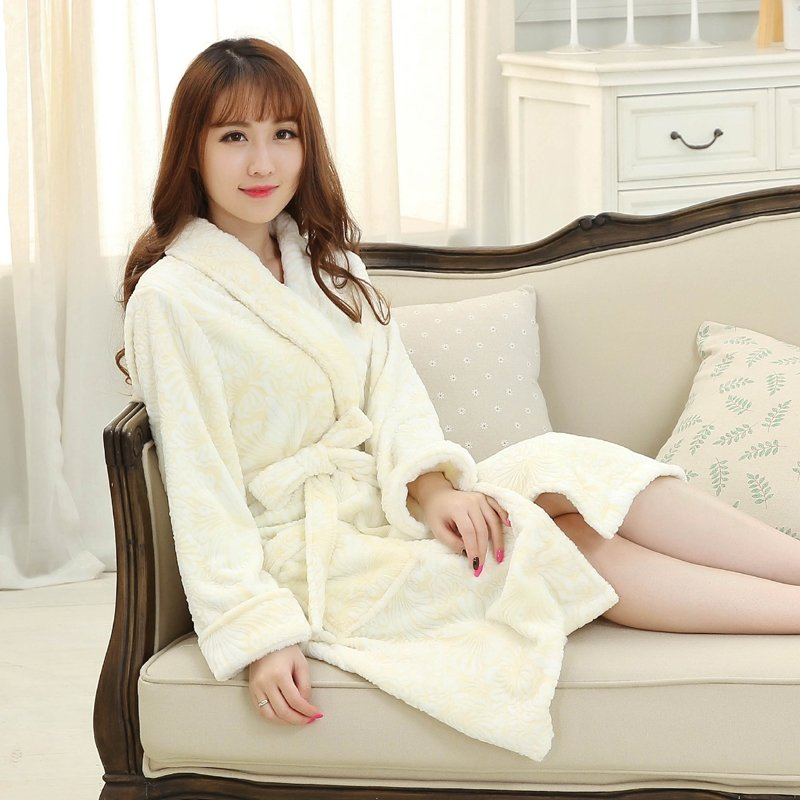 Light Yellow Flannel 3D Flower Pattern Bathrobe Wrap Robe Thicken Pajamas for Women M L XL
