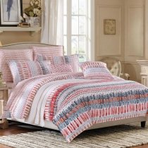 Raspberry Red Taupe Gray and White Geometric Print Polka Dot and Stripe Southwestern Style 100% Cotton Damask Full, Queen Size Bedding Sets