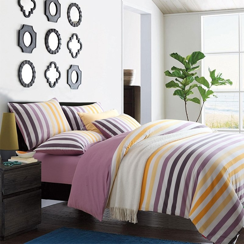 Lilac Purple Mustard Yellow and White Rugby Stripe Print Stylish Knitted Reversible 100% Egyptian Cotton Full, Queen Size Bedding Sets