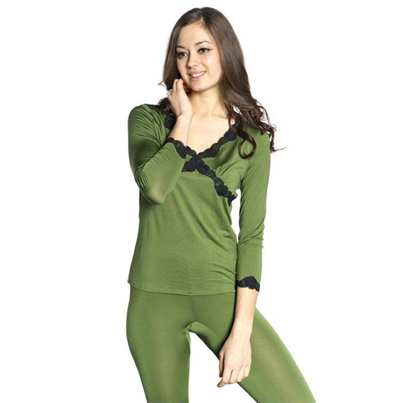 Green 100% Pure Silk 3/4 Length Shirt & Full Length Pants Luxury Sweet Pajamas for Feminine M L XL