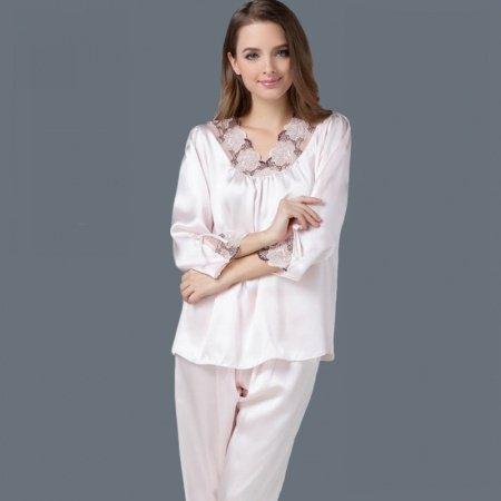 Pale Pink 100% Nature Silk Long Sleeve Shirt & Pants Gorgeous Elegant Pajamas for Feminine Girly L XL XXL