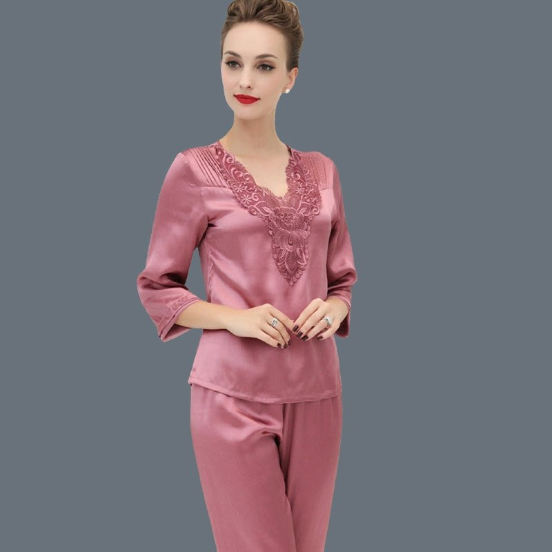 Turkish Rose Embroidered V-neck 3/4 Length Shirt Knee-length Trousers 100% Nature Silk Vintage Luxury Women Pajamas M L XL