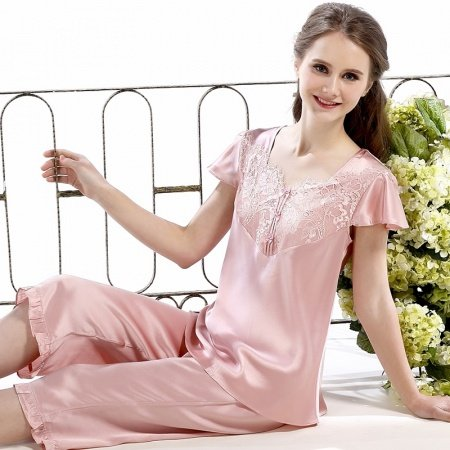 Rosy Brown Cape Sleeve Shirt and Cropped Trousers 2pc 100% Pure Silk Women Pajamas M L XL XXL