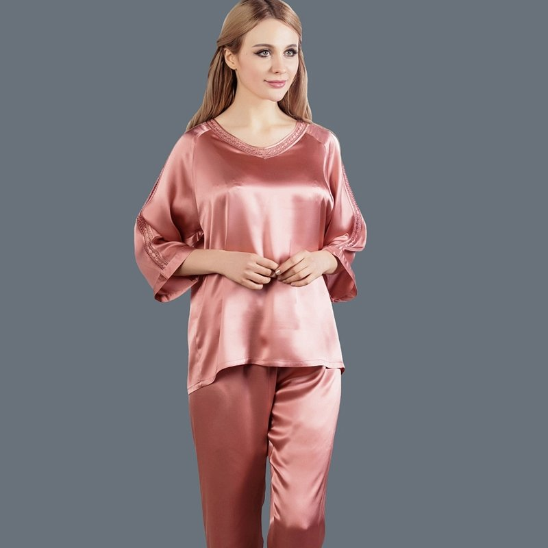 India Red 100% Pure Silk Luxury 2pc Pajama Set for Women M L XL