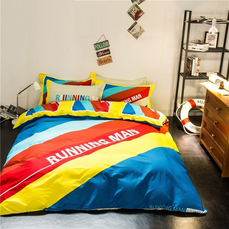 Royal Blue Yellow Orange and Aqua Diagonal Stripe and Monogrammed Print Hipster Style Reversible 100% Cotton Full Size Bedding Sets