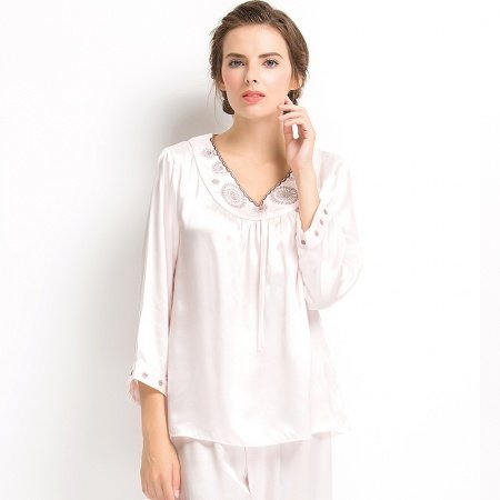 Snow White 100% Real Silk 2 Pieces Long T-Shirt and Pants Noble Luxury Pajamas for Girls Ladies M L XL
