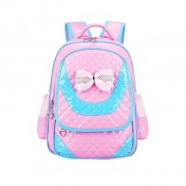 Turquoise Pink Patent Leather Cute Bow Lace Girls Flap School Backpack Durable Sewing Pattern Quilted Pupil Preppy Campus Book Bag