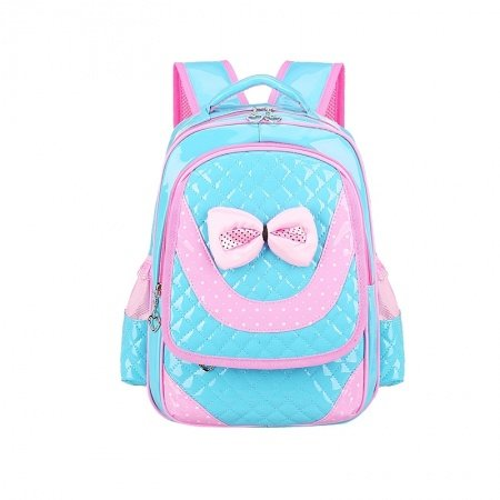 Turquoise Patent Leather with Pink Bow Lace Girls Flap School Backpack Hipster Polka Dot Sewing Pattern Quilted Pupil Campus Book Bag