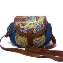 Blue Canvas with Maroon Gold Cowhide Leather Studded Lady Small Flap Saddle Bag Personalized Embroidered Dragon Crossbody Shoulder Bag