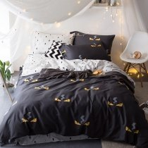 Black White and Orange Terrible Ghost Print Shabby Chic Masculine Style Personalized 100% Egyptian Cotton Full, Queen Size Bedding Sets