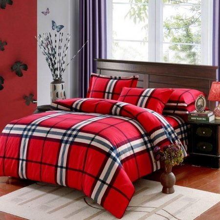 Red Black and White Rugged Plaid Print Traditional 100% Brushed Cotton Full, Queen Size Bedding Sets for Adult