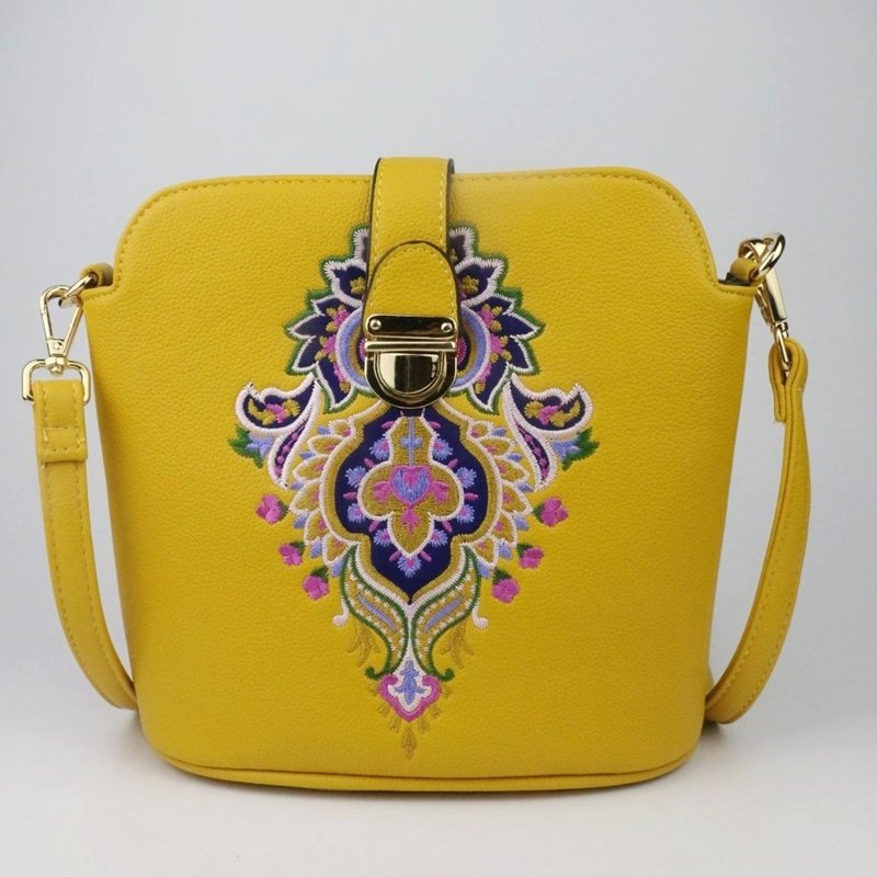 Bohemian Yellow Patent Leather Personalized Embroidered Folklore Vintage Baroque Style Women Small Casual Crossbody Shoulder Satchel Bag