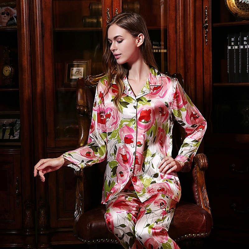 French Rose 100% Pure Silk Flower Long T-Shirt and Pants Luxury Oriental Pajamas for Feminine Girly M L XL