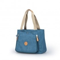 Durable Plain Blue Canvas with Orange Leather Feminine Lady Tote Vintage Sewing Pattern Korean Style Simply Chic Casual Shoulder Handle Bag