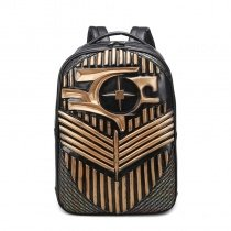Personalized Vintage Black and Metallic Gold Leather Travel Laptop Backpack Punk Style Embossed Cool Boys Large School Campus Book Bag
