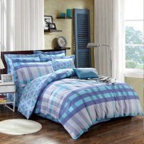 Navy Blue Aqua and Grey Scottish Plaid Print Masculine Style Reversible 100% Cotton Full, Queen Size Bedding Sets for Boys