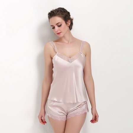 Pale Pink 100% Pure Silk Bud Silk Lace Camisole and Hipster Shorts Sexy Seductive Summer Pajamas for Feminine Girly S M L XL