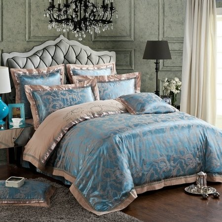 Sapphire Blue and Khaki Scroll Pattern Shabby Chic Embroidered Design Boutique Jacquard Satin Full, Queen Size Bedding Sets