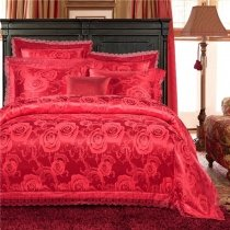 Solid Vermilion Red Victorian Rose Sparkle Pattern Sexy Lace Design Romantic Upscale Jacquard Satin Fabric Full, Queen Size Bedding Sets