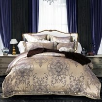 Metallic Gold and Charcoal Indian Pattern Classic Baroque Style Boutique Sparkle Luxury Jacquard Satin Full, Queen Size Bedding Sets