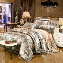 Adult Gold and Grey Scroll Pattern Abstract Design Vintage Rustic Style Shabby Chic Jacquard Satin Full, Queen Size Bedding Sets