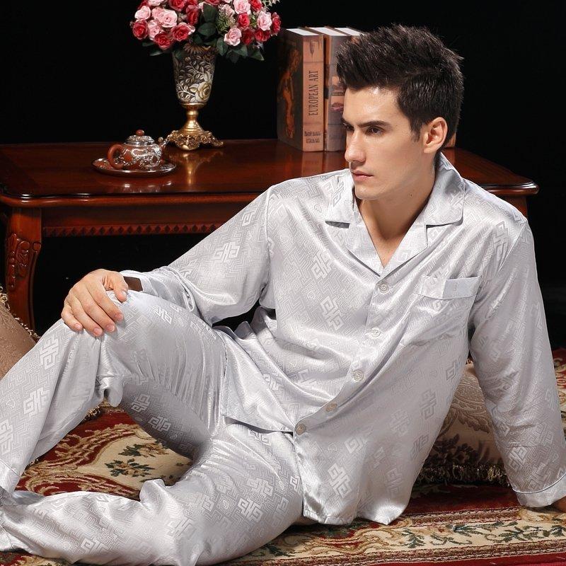 Light Grey Fret Pattern 100% Pure Silk Long T-Shirt and Pants Classic Luxury Pajamas for Boys Masculine L XL XXL