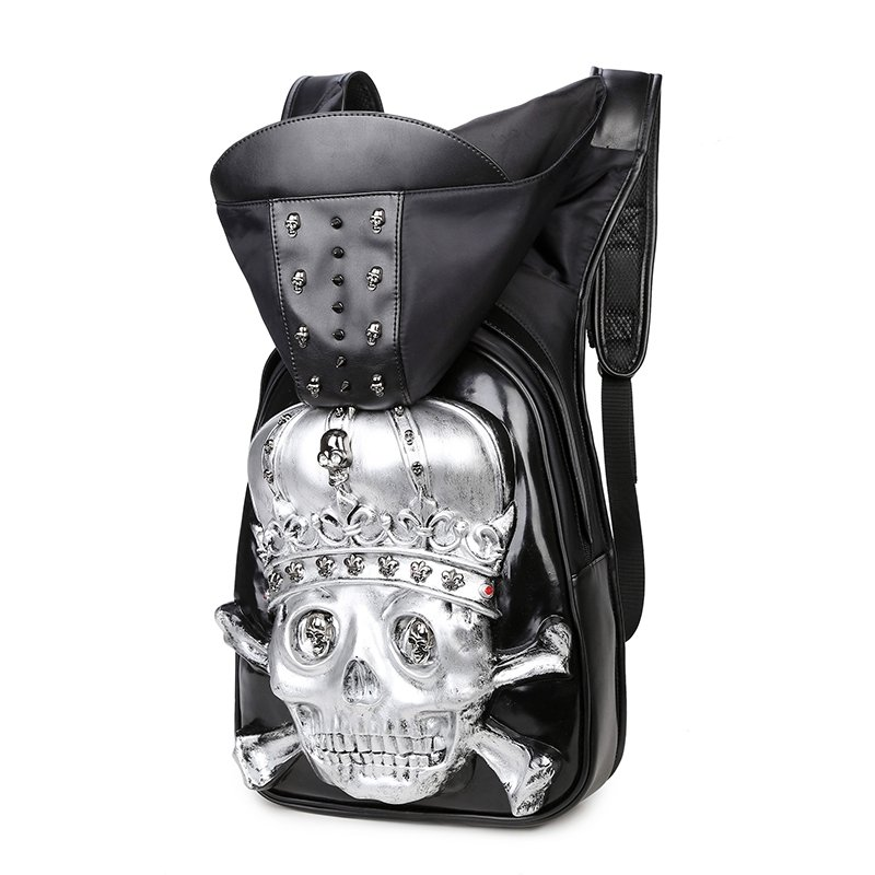 Black Leather Metallic Silver Embossed Skull Crossbones Cool Boys School Campus Book Bag Personalized Punk Studded Large Travel Backpack
