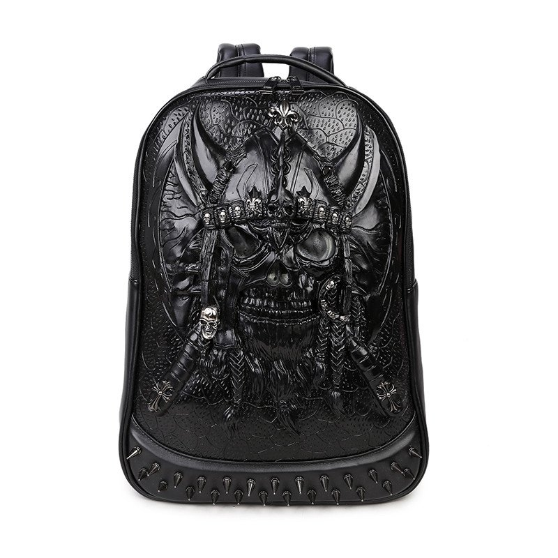 Black Patent Leather Embossed Pirate Skull Cool Men Large Travel Backpack Punk Rock and Roll Style Spike Rivet Studded School Book Bag