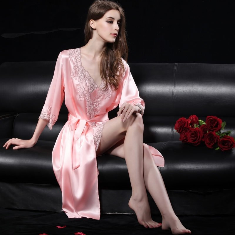 Pastel Pink 19mm 100% Nature Silk 2 Pieces Sling Dress & Night-Robe Noble Luxury Pajamas for Girly Women M L XL