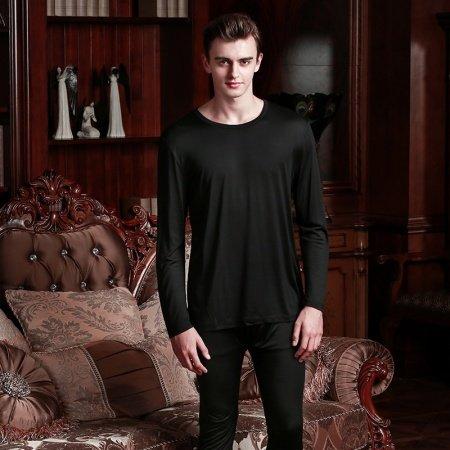 Plain Black 100% Nature Silk 2 Pieces Crewneck Long Shirt Trousers Baggy Casual Pajamas for Masculine Boys L XL XXL