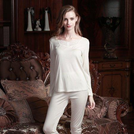 Plain Platinum 100% Nature Silk 2 Pieces Crewneck Long Shirt Trousers Baggy Casual Pajamas for Feminine Girls L XL XXL