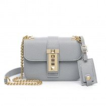 Trend Grey Patent Leather with Gold Sequin Hardware Women Flap Messenger Satchel Vintage Lock Closure Chain Small Crossbody Shoulder Bag