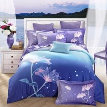 Midnight Blue Indigo and Turquoise Tropical Flower Print Polka Dot Design Trippy Style 100% Cotton Full, Queen Size Bedding Sets