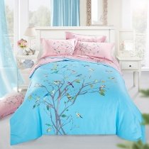 Aqua Pink and Brown Branches and Bird Print Natural Style Reversible 100% Organic Cotton Full, Queen Size Bedding Sets