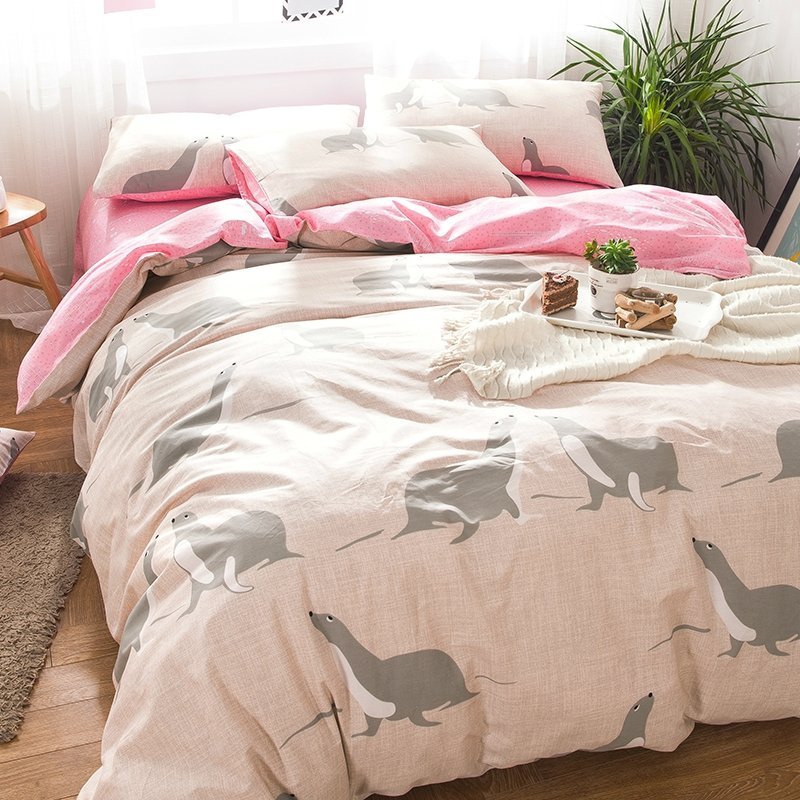 Kids Beige Grey and Pink Sea Lion Print Cartoon Themed Funny Style Reversible 100% Cotton Twin, Full Size Bedding Sets