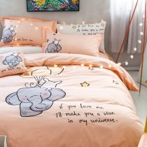 Black Gray and Coral Orange Elephant Print Cartoon Animal Themed Kids Twin, Full, Queen Size Bedding Sets