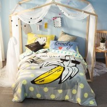 Kids Yellow Grey Black and White Fruit Banana Print Unique Hipster Style Trendy Reversible 100% Cotton Twin, Full Size Bedding Sets