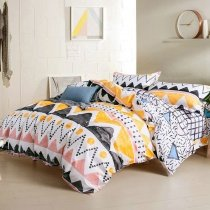 Coral Yellow Black and White Aztec Stripe Print Southwestern Style Unique 100% Cotton Twin, Full, Queen Size Bedding Sets