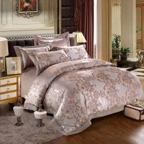 Old Fashion Metallic Silver Gray Blue and Gold Bohemian Vintage Rococo Pattern Luxury Jacquard Satin Full, Queen Size Bedding Sets