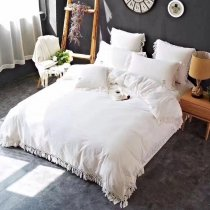 Trendy Off-White Pure Colored Tassel Edge Sophisticated Elegant Luxury 100% Organic Cotton Full, Queen Size Bedding Sets